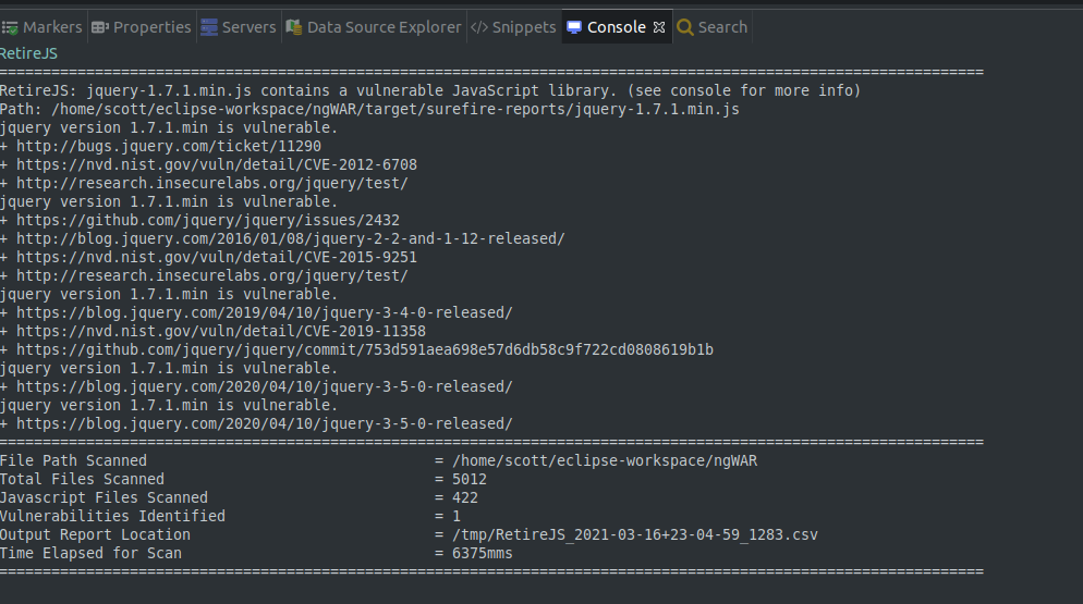Eclipse Console Output